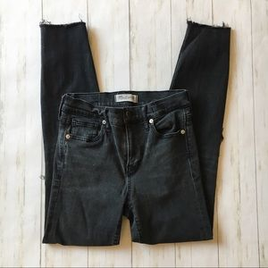 Madewell Black High Riser Skinny Distressed Jeans